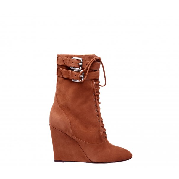 Lace Up Wedge Half Boots