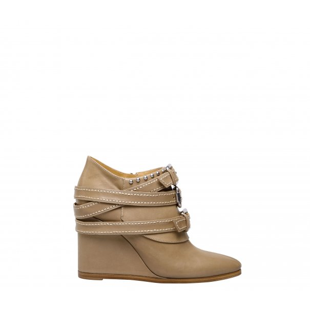 Buckle Wedge Ankle Boots
