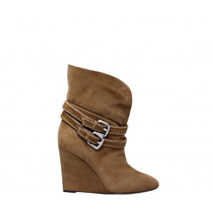 Buckle Wedge Half Boots