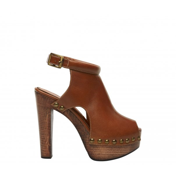 Leather High Heel Clogs