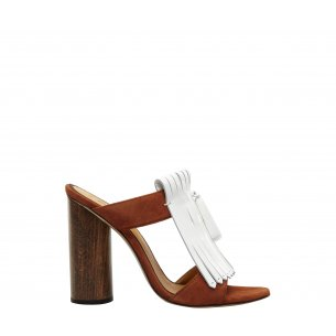 Block Heel Fringe Sandals
